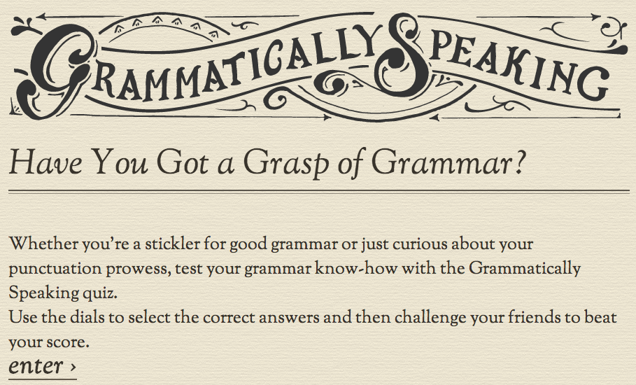 Grammatically Speaking Quiz by Stables